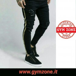 SIKSILK SS-13932 Distressed Gold Tape Denims - Black